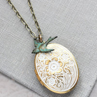 White Patina Locket Necklace Bird Charm Photo Locket Shabby Country Chic Romantic Bridesmaids Gift for Mom Keepsake Jewelry Nickel Free