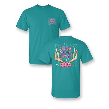 Sassy Frass Wild Heart Gypsy Soul Deer Antlers Flowers Girlie Bright T Shirt