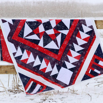 Handmade Patchwork Quilt, Single Bed Quilt, Geometric Lap Quilt, Modern Quilt, Colourful Star Quilt, Quilted Bedding