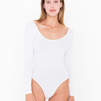 Cotton Spandex JerseyU-Neck Long Sleeve Bodysuit