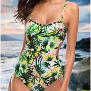 B| Chicloth Women One Piece Swimsuit Swimwear Leaf Print Cut Out Bandage Bathing Suit