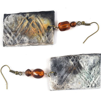 Ceramic Earrings Rectangle Organic Smoky Black Jewelry with Orange Beads Accents in Handmade Felt Envelope