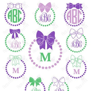Bow Monogram Frames svg cut files 10 Vector Graphic Files SVG EPS DXF cutting file, Cricut Silhouette Vinyl cutting file