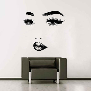 Girl Face Wall Decals Model Girl Wall Decal Beauty Salon Make Up Wall Decals Girls Eyes lips Wall Decor Beauty Salon Wall Decor kik3398