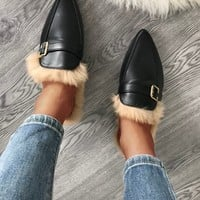 Plush Buckle Design Pointed Toe Slippers