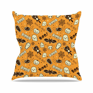 "KESS Original ""All Cute Halloween"" Orange Pattern Outdoor Throw Pillow"