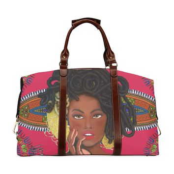 Medusa on Red Dashiki Oversized Weekend Bag