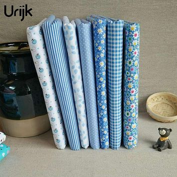 Urijk 7PCs/Lot 25x25cm Mixed Fabric DIY Patchwork Blue Flower Series Quilting Fabric Tissu Patchwork Sewing Accessories