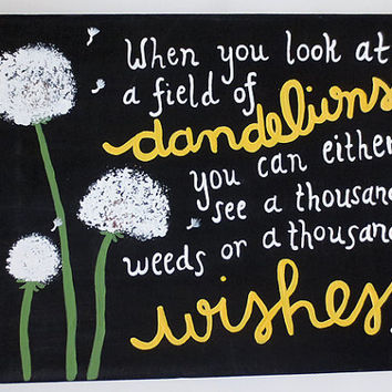 Dandelion Inspirational Quote Canvas Painting