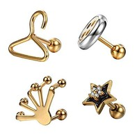 BodyJ4You Tragus Earrings Stud Barbell Hanger Star Button Hand Goldtone Surgical Steel 16G Piercing Jewelry Set 4 Pieces