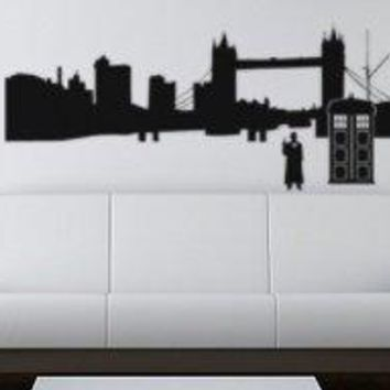 Dr. Who Inspired London Silhouette Wall Decal Sticker