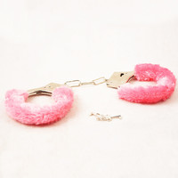 1 Pair Soft Metal Adult Furry Handcuffs Adult Games for Couples Pink Black Red Hand Cuffs Restraints Bondage Cuffs Roleplay Tool