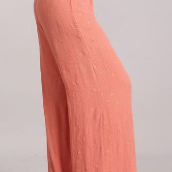 Chatoyant Embroidered Wide Leg Pants  Light Salmon