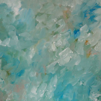 Abstract Original Painting 16 x 20 Blue Green Modern Art on Ready To Hang Stretched Canvas