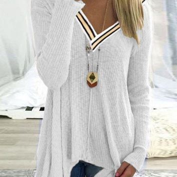 New White Striped Deep V-neck Long Sleeve Going out Blouse