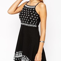 ASOS PETITE Exclusive High Neck Skater Dress in Mono Paisley