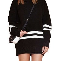 Maykool Women's Black Stripe Round Neck Long Sleeve Stylish Sweater Dress