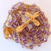 Antique French, Art Deco, Pale Violet, Glass Rosary