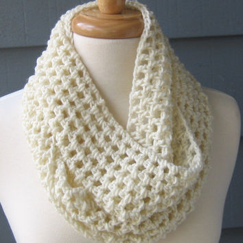 NORA Crochet Infinity 62 inches Scarf Cowl Ivory by ArtsyCrochet