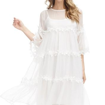 White 3-D Flower Flowy Short Dress