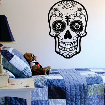 Sugar Skull Version 9 Decal Sticker Wall Vinyl Day of the Dead
