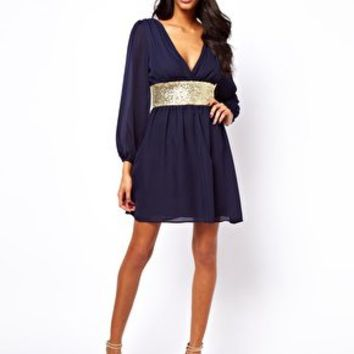 ASOS Skater Dress With Sequin Band at asos.com