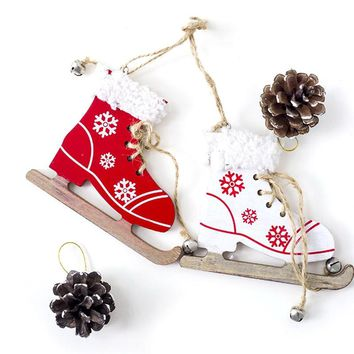 1Pc Snowfake Pattern Wooden Sleds Boots Christmas Tree Ornament Xmas Hanging Pendant Christmas Navidad Decor For Home Random