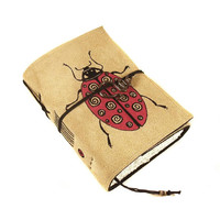 Ladybug Journal, Leather Notebook, Diary, Painted Suede