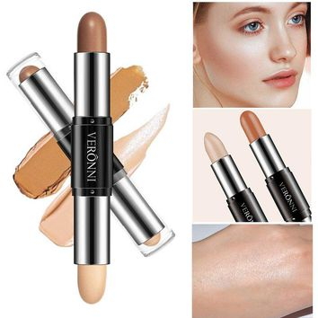 New Concealer Makeup Double-ended 2 in1 Stick Contouring Highlighter Bronzer Face Makeup Concealer Full Cover Blemish  4colors