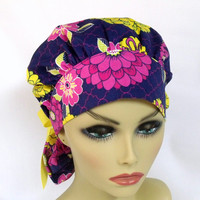 Women's Bouffant  Surgical Scrub Hat or Cap Bold Zinnias