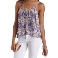 Ivory Combo Printed Lace-Up Tank Top by Charlotte Russe