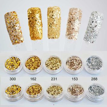 Mix Gold Sequins for Nail Dust Shine Spangles for Nails Glitter Powder Glitters on Nails Tinsel for Nails Glitter SF2024