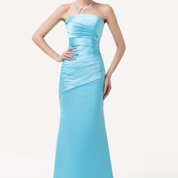 Sky Blue Off Shoulder Ruched Mermaid Evening Dress