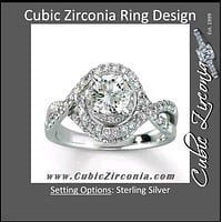 Cubic Zirconia Engagement Ring- The ________ Naming Rights 1208 (1.50 TCW Twisted Halo Round Cut Split Band)