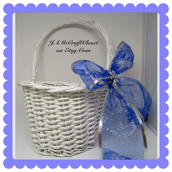 Vintage White Wicker Flat Backed Flower Girl Basket With Blue Bow and Silver Snowflakes on Ribbon-Bling Flower as an Accent-Winter Wedding-