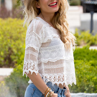 Playa Del Carmen Crochet Lace Crop Top- WHITE