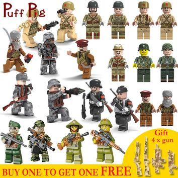 Military Combat Force Soldiers Weapon Guns Set Army Vehicles Compatible Legoed ww2 Germany Figures Building Blocks Toys For Kids