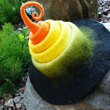 Halloween fairy/ witch hat, handfelted of wool HANDMADE TO ORDER