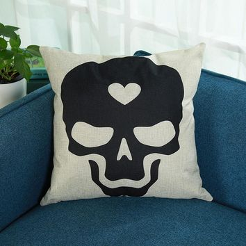 Skull Print Pillowcase Linen Cotton Sofa Cushion Cover Home Decor