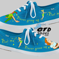 Hand Painted Keds. Peter Pan. Wendy Darling. Tinker Bell. Dip Dye Lace. Handpainted shoes.