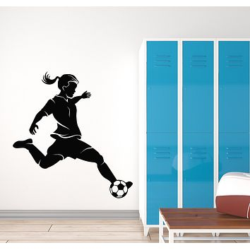 Vinyl Wall Decal Soccer Girl Player Sports Ball Football Fan Stickers Mural (g733)