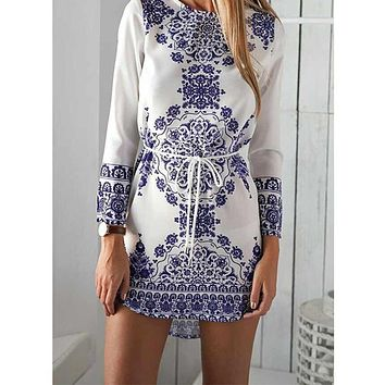 Women Straight Dresses Long Sleeve Autumn Girls Casual Dress Vestidos Chinese National Style Blue And White Porcelain Pattern