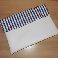Navy stripes vegan leather clutch, ipad case, cover