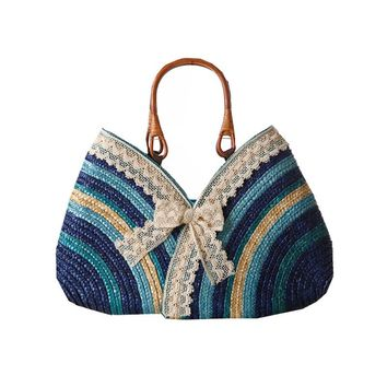 Vintage Lace Bow Designer Basket Market Straw Bags Summer Travelling Causal Beach Totes Rattan Woven Holiday Women Handbags L60
