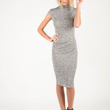 Mock Neck Knitted Midi Dress - Large