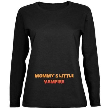 PEAPGQ9 Halloween Mommy's Little Vampire Black Womens Long Sleeve T-Shirt