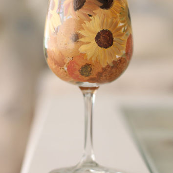 Van Gogh Sunflowers Wine Glass
