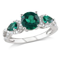 1/6 CT  Diamond TW And 2 CT TGW Created Emerald Fashion Ring  Silver GH I2;I3