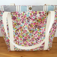 Floral Fabric Bag, Tote Bag, Gift For Her, Canvas Market Bag, Summer Carryall, Project Bag, Lined Grocery Bag, Long Handled Tote with Pocket