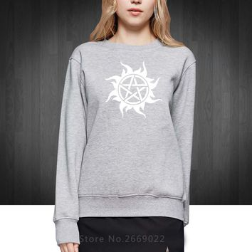 fierce ghost Supernatural protective symbols Printed Women Hoodies Fashion 2016 Cotton Sweatshirts For Woman Girls